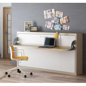 Łóżko w szafie poziome z półko - biurkiem
